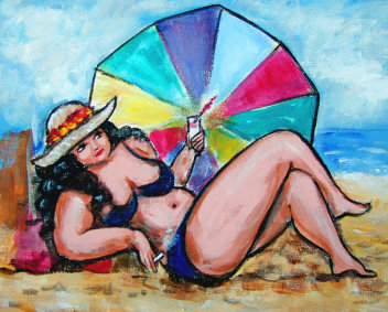 illustration of curvy woman on beach