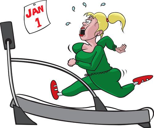 Cartoon lady running on treadmill