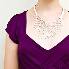 filling the neckline with necklace. Good example