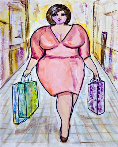 illustration of a curvy woman shopping